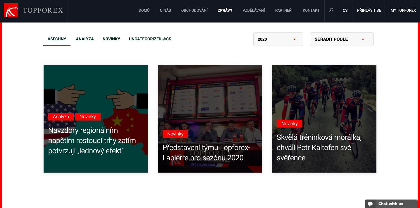 Webová stránka brokera TopForex
