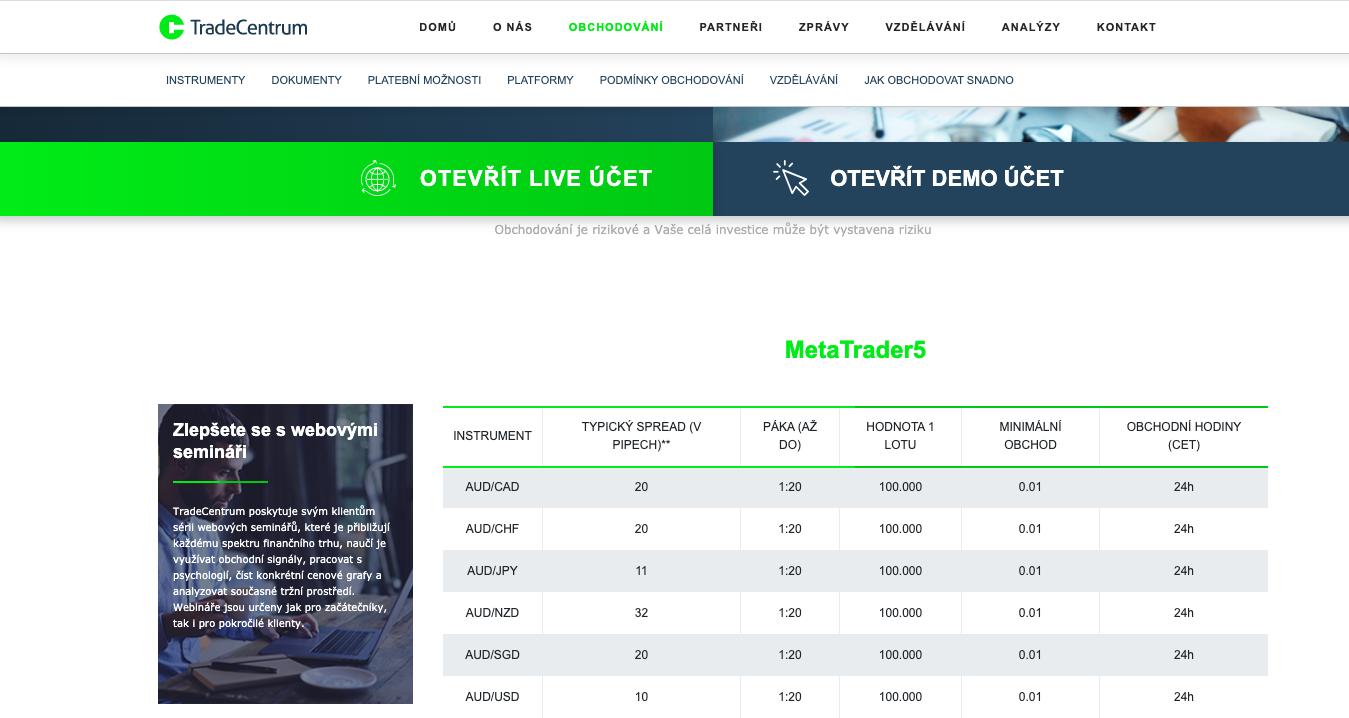 Tradercentrum používá k obchodování platformu MetaTrader 5