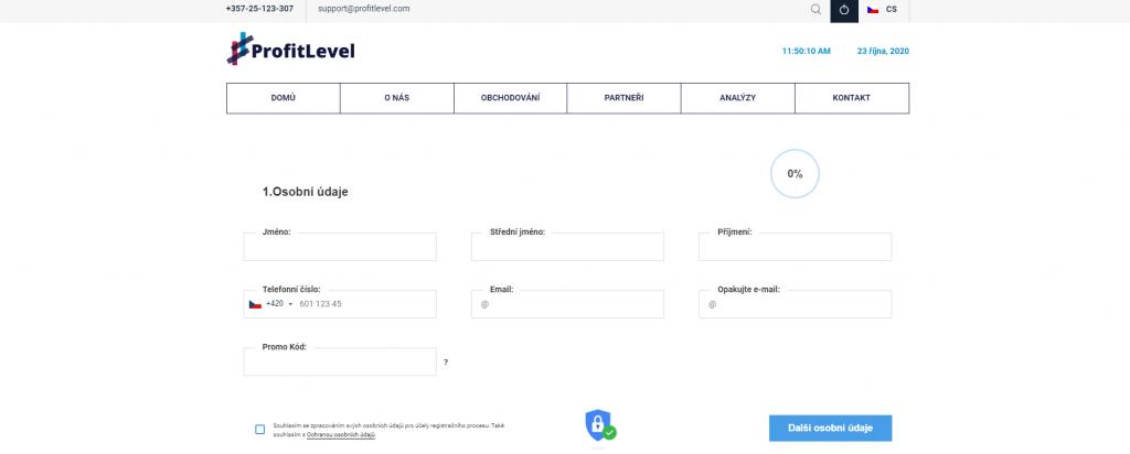 Pro obchodování s Profitlevel je potřeba vyplnit registrační formulář