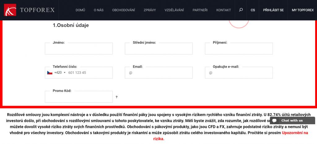 K registraci pro obchodování u TopForex stačí vyplnit základní údaje